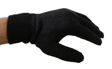 Gray 100% Wool Knitted Crown Logo Wrist Gloves