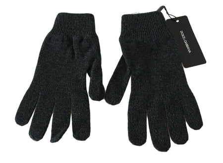 Gray Black 100% Wool Knitted Logo Wrist Gloves
