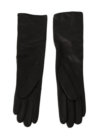 Black Lambskin Leather Crystal Elbow Gloves
