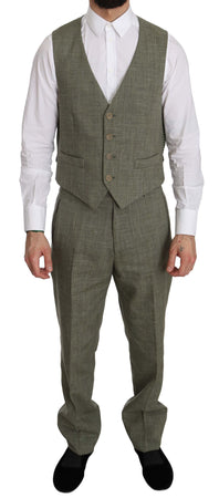 Gray Linen Two Piece Vest Pants Trousers