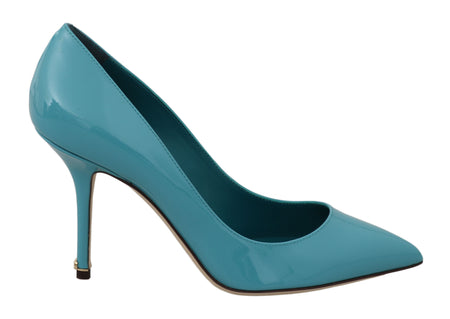 Blue Patent Leather Heels Pumps Shoes
