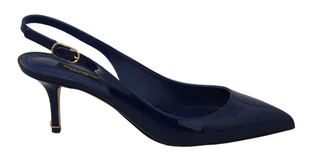 Blue Patent Leather Slingbacks Shoes