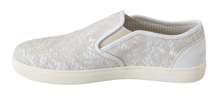White Leather Lace Slip On Loafers Shoes