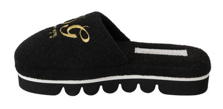 Black Cotton Slippers Flats Luxury Hotel Shoes