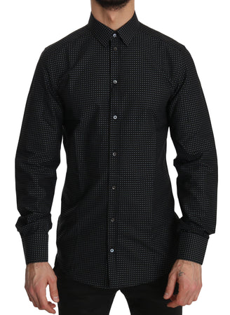 Black Cotton GOLD Polka Dot  Shirt