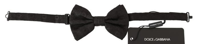 Black Patterned Silk Adjustable Neck Bow Tie Papillon