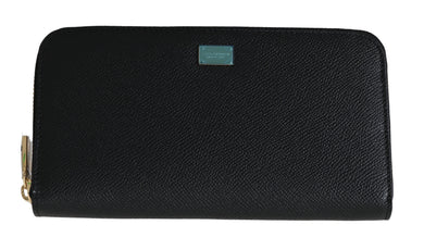 Black Dauphine Leather Zipper Continental Women Wallet