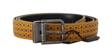 Yellow Leather Perforated Metal Buckle  Belt