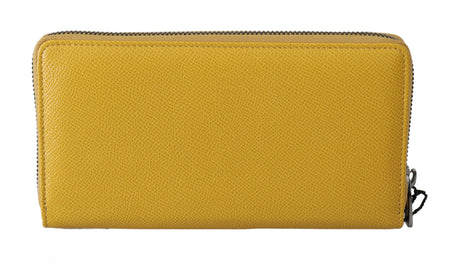 Yellow Leather Zipper Continental Mens Bill Card Coin Wallet