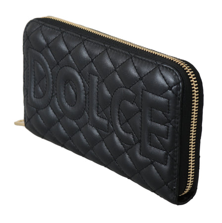 Black Leather Quilted Clutch Zipper Continental Wallet
