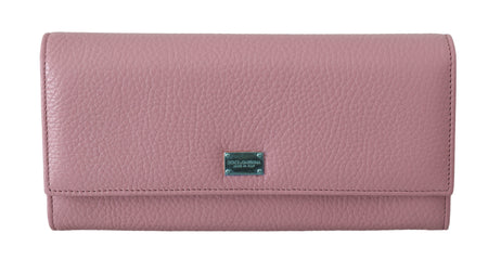 Pink Leather Bifold Continental Clutch Wallet