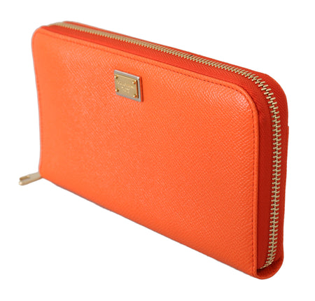 Orange Dauphine Leather Zipper Continental Wallet