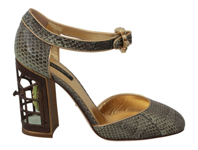Green Snakeskin Cage Crystal Heels Shoes
