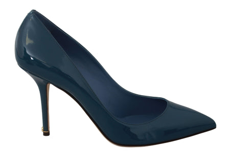 Blue Patent Leather Pumps Heels Shoes