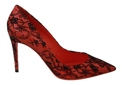 Orange Black Lace KATE Womens Heels Shoes