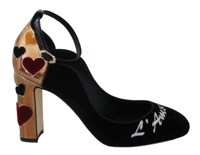 Black Velvet Gold Leather Hearts Heels  Shoes