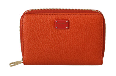 Orange Leather Zipper Card Holder Coin Purse Wallet
