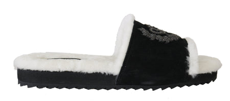 Black Leather Fur Crown Slides Slippers  Shoes