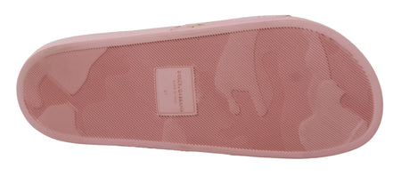 Pink Leather Beachwear  Soft Slippers