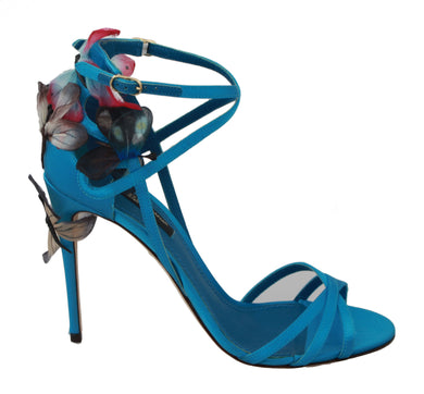 Butterfly Blue Silk Stiletto Sandals Shoes
