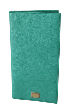 Green Leather Card Holder Case Long Bifold Purse Wallet