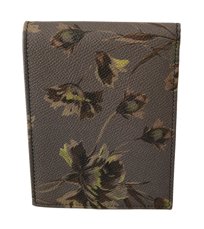 Brown Floral Leather Bill Cardholder Bifold Wallet