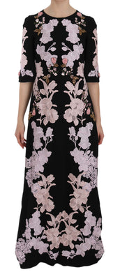 Black Pink Floral Lace Crystal Gow Dress