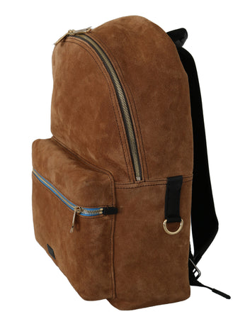 Brown Suede School Travel Backpack Borse Leather Bag