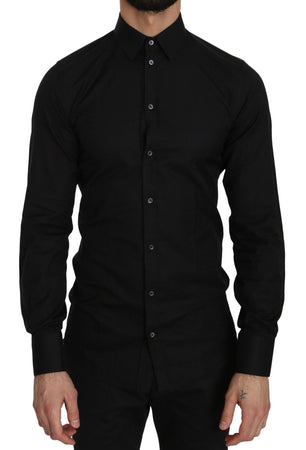 Black Cotton GOLD Slim Dress Formal  Shirt