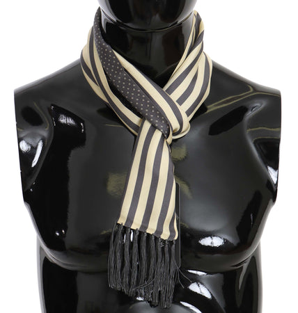 Gray Beige Dots Stripes Mens Scarf