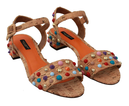 Beige Sughero Cork Embellished Sandal Shoes