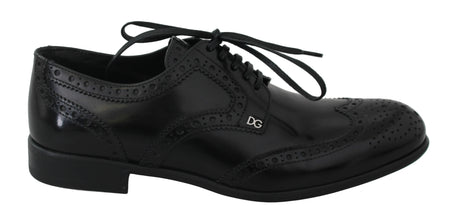 Black Leather Broques Oxford Wingtip Shoes
