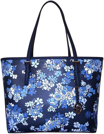 Jet Set Travel Floral Navy Medium Tote Bag