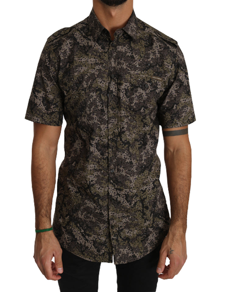 Green Cotton Military Pattern Shirt