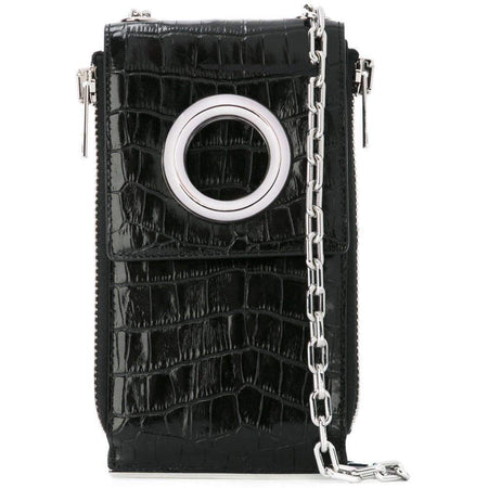 Alexander Wang Black Shoulder Wallet Crocodile Embossed Leather