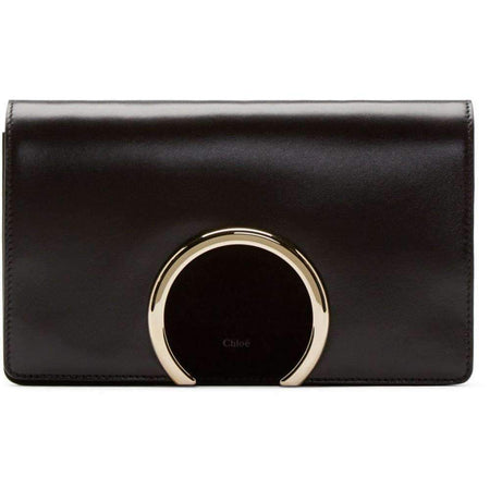 Gabrielle Black Leather Clutch