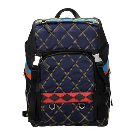 Multicolor/Blue Print Backpack and Bumbag