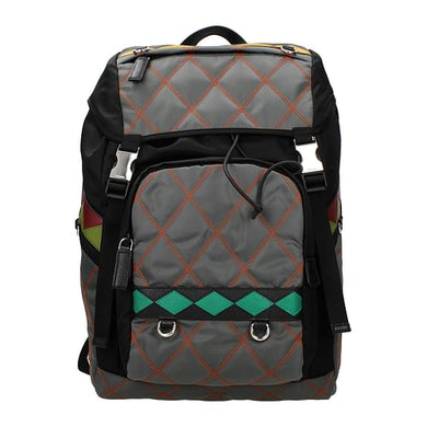 Multicolor/Gray Print Backpack and Bumbag