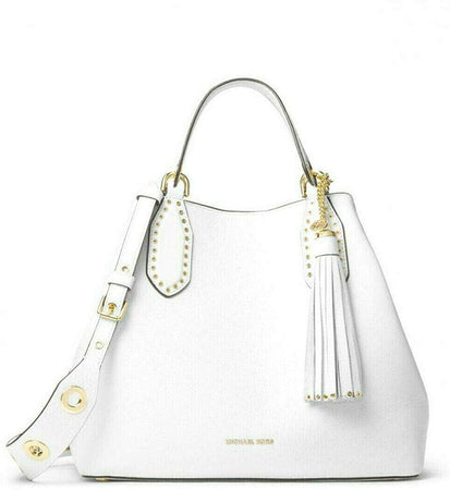Brooklyn Small White Pebbled Leather Grab Bag