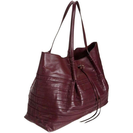 Nina Ricci Liane Tiered Large Duffel Burgundy Leather Shoulder Bag