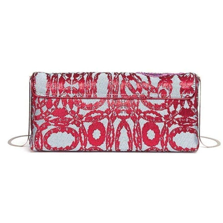 Runway Sequin Wing Floral Brocade Clutch