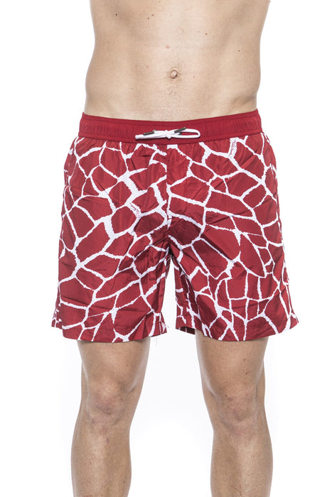 Red Beachwear Boxer With Pockets. Giraffe Print. Internal Net. Back Pocket With Logo.