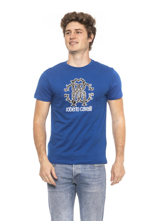 Blue Short Sleeves T-shirt. Front Logo Print.