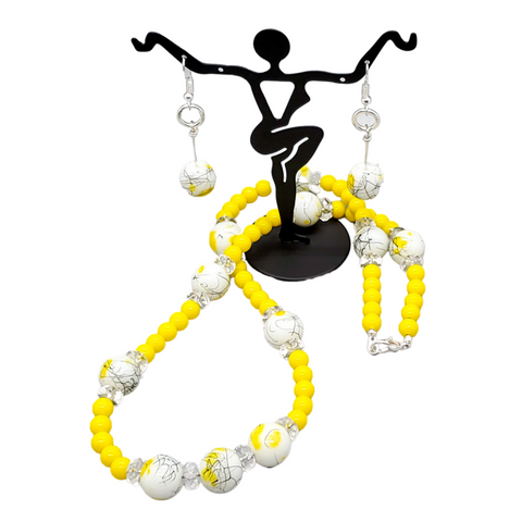 Yellow and white beaded statement set