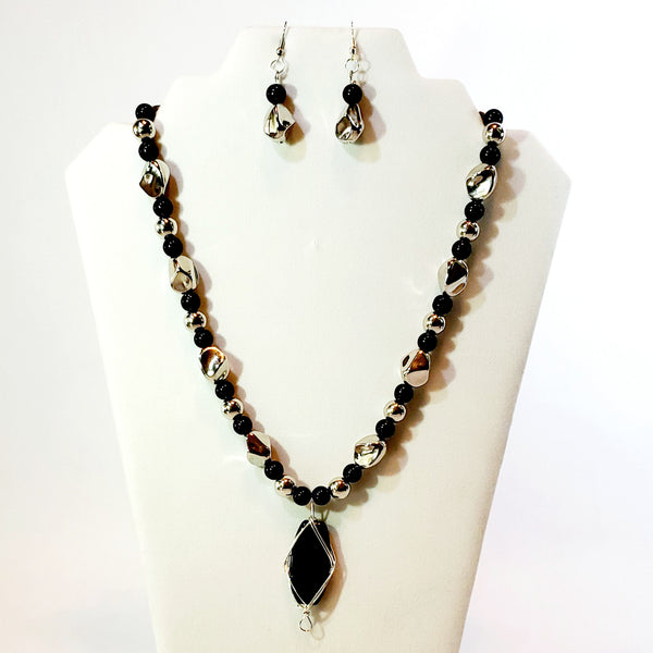 Black and Silver Statement Pendant Set