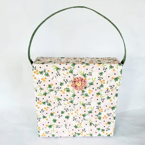 Pink and Green Floral Paper Purse