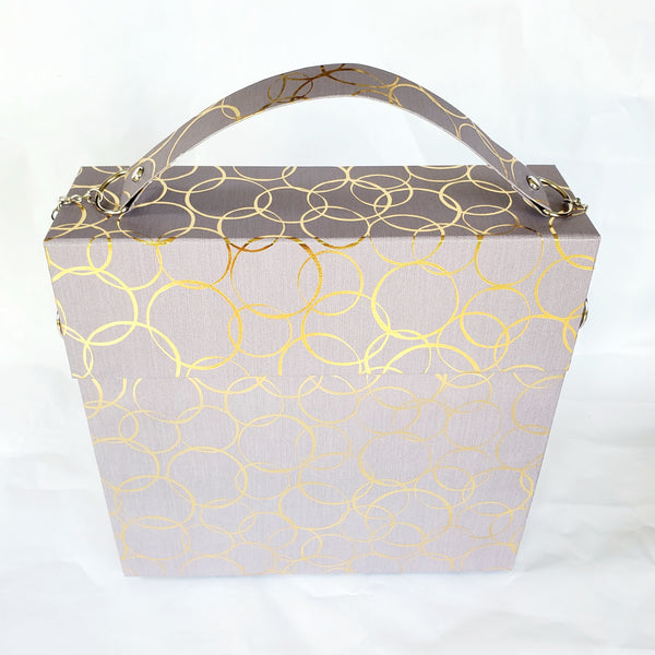 Grey and gold large paper purse and notebook set