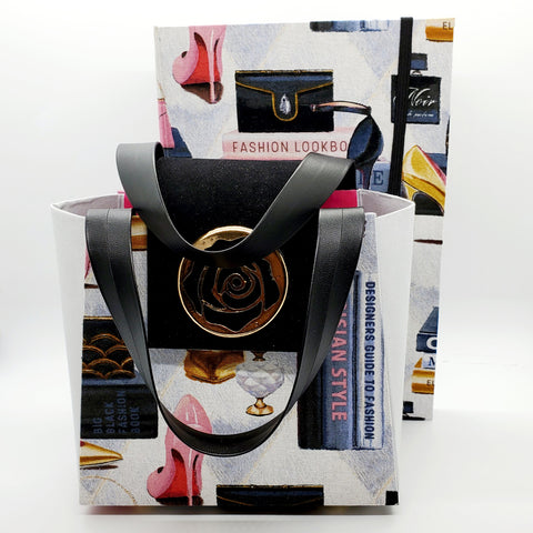 Forever Fashion Parisian fabric paper purse gift bag set