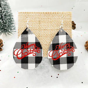 Black and White Buffalo Plaid teardrop earrings with Merry Christmas text in red