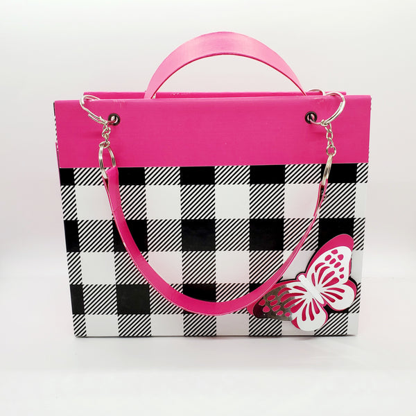 Pink and Black Paper Purse Gift Bag